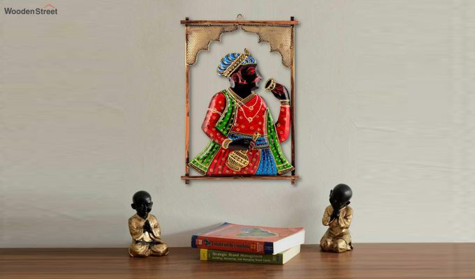 Multicoloured Rectangular Shape Raja Ji Iron Wall Hanging-1