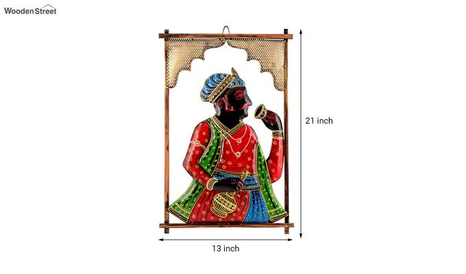 Multicoloured Rectangular Shape Raja Ji Iron Wall Hanging-4