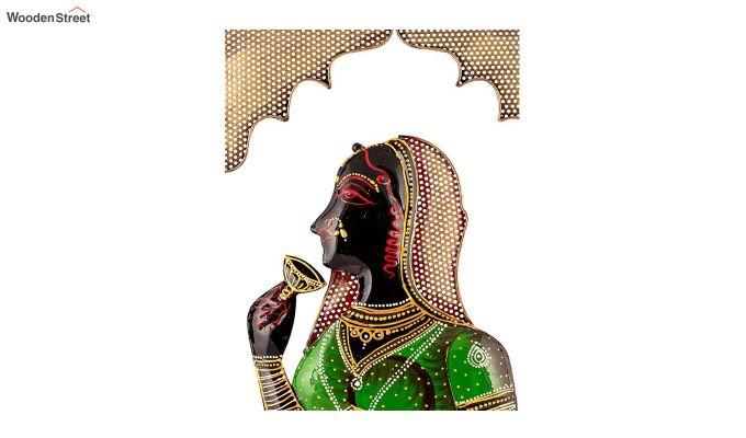 Multicoloured Rectangular Shape Rani Saa Iron Wall Hanging-3