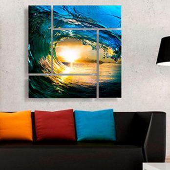 Ocean Waves Metal Wall Hanging (Multi Color)