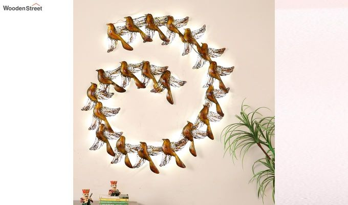 Sparrow Spiral Wall Hanging (Gold Color)-2