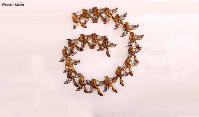 Sparrow Spiral Wall Hanging (Gold Color)-5