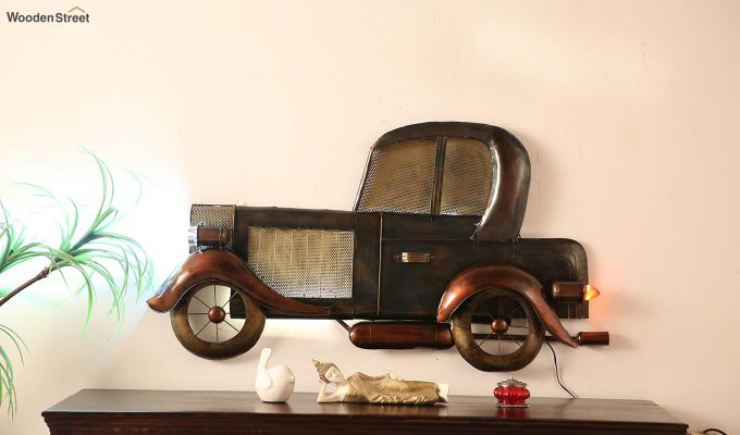 Vintage Car Side View Wall Hanging (Brown Color)-1