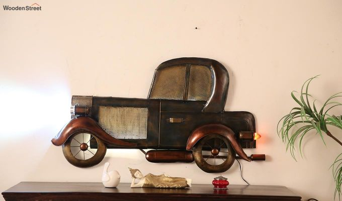 Vintage Car Side View Wall Hanging (Brown Color)-2