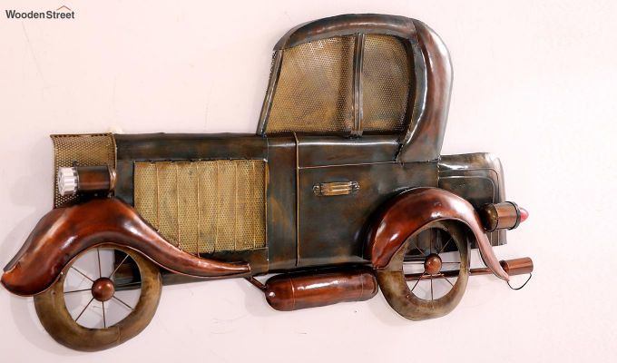 Vintage Car Side View Wall Hanging (Brown Color)-4