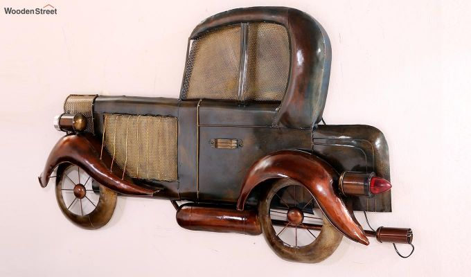 Vintage Car Side View Wall Hanging (Brown Color)-6