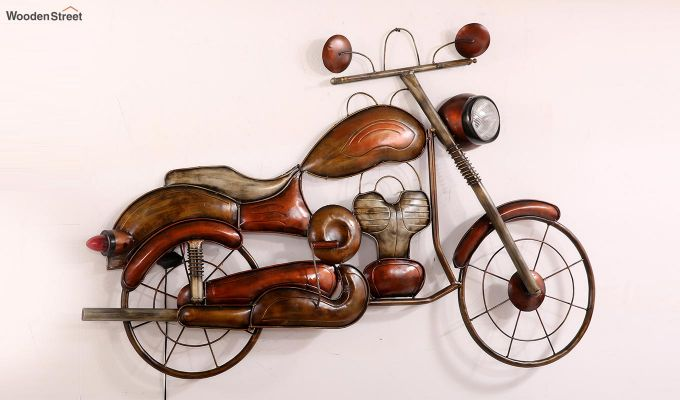 Vintage Motorbike Wall Hanging (Brown Color)-3