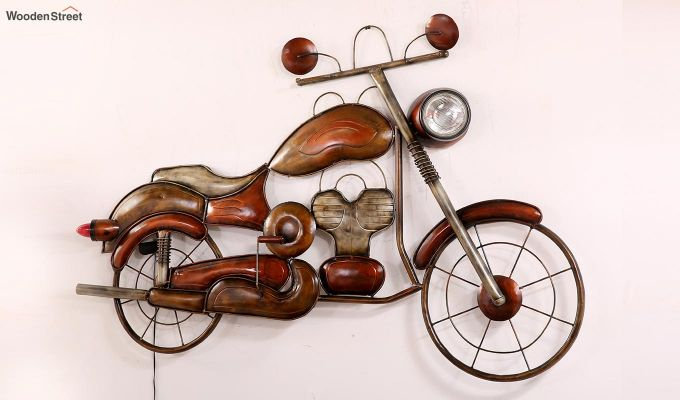 Vintage Motorbike Wall Hanging (Brown Color)-4