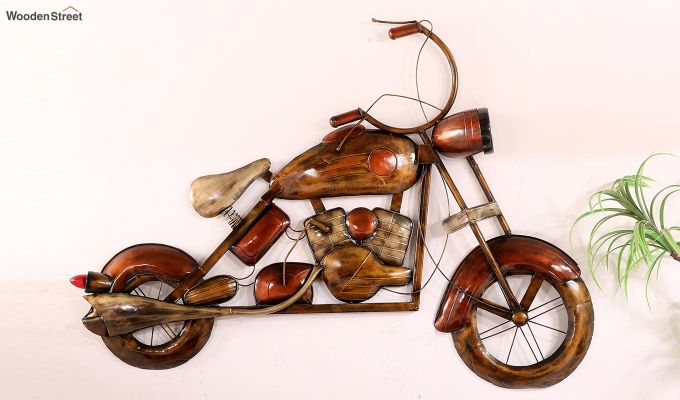 Vintage Motorbike Wall Hanging (Brown Color)-5
