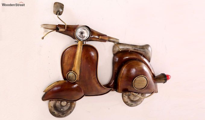 Vintage Scooter Wall Hanging (Brown Color)-2