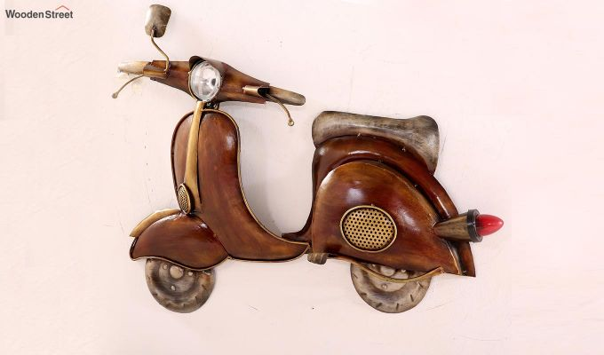 Vintage Scooter Wall Hanging (Brown Color)-3
