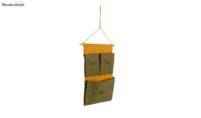 Multipurpose 3 Pocket Green and Yellow Wall Hanging Organizer-3