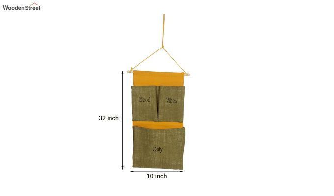 Multipurpose 3 Pocket Green and Yellow Wall Hanging Organizer-5