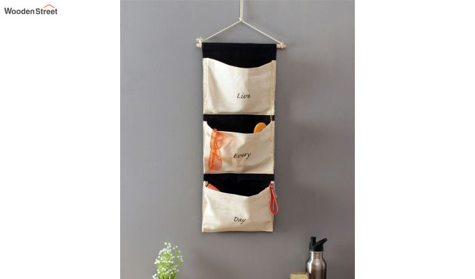 Multipurpose 3 Pocket White and Black Wall Hanging Organizer-1