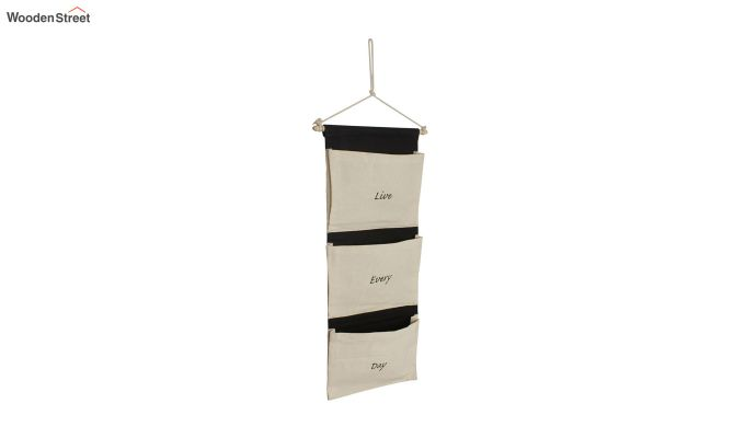 Multipurpose 3 Pocket White and Black Wall Hanging Organizer-3