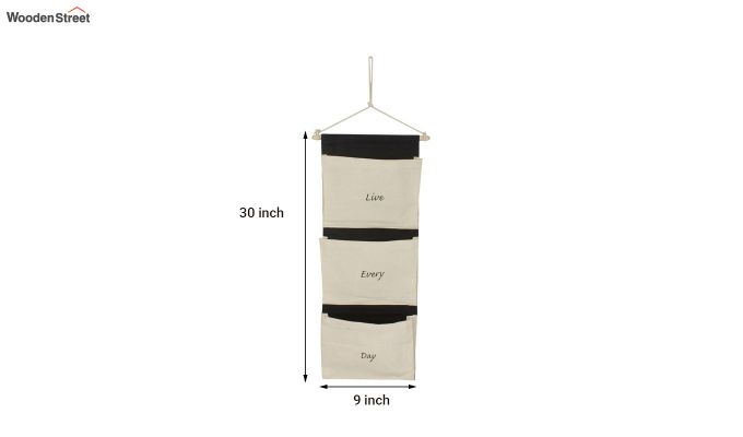 Multipurpose 3 Pocket White and Black Wall Hanging Organizer-5