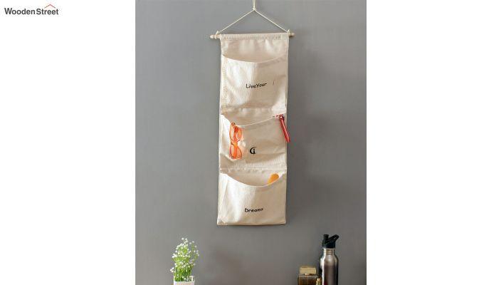 Multipurpose 3 Pocket White Wall Hanging Organizer-1