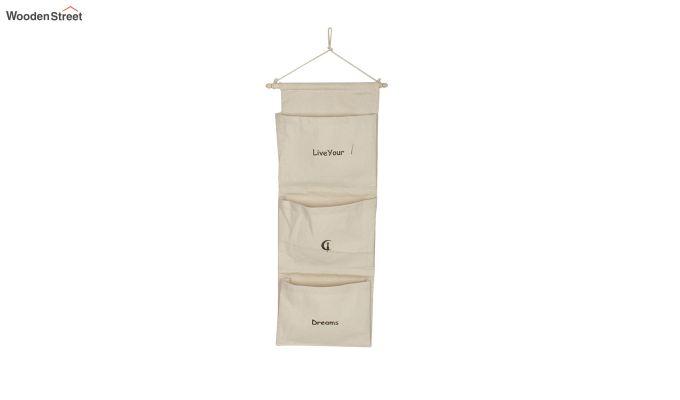 Multipurpose 3 Pocket White Wall Hanging Organizer-2