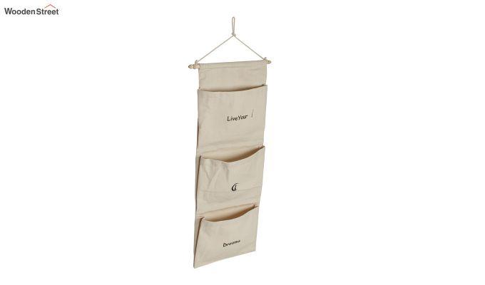 Multipurpose 3 Pocket White Wall Hanging Organizer-3