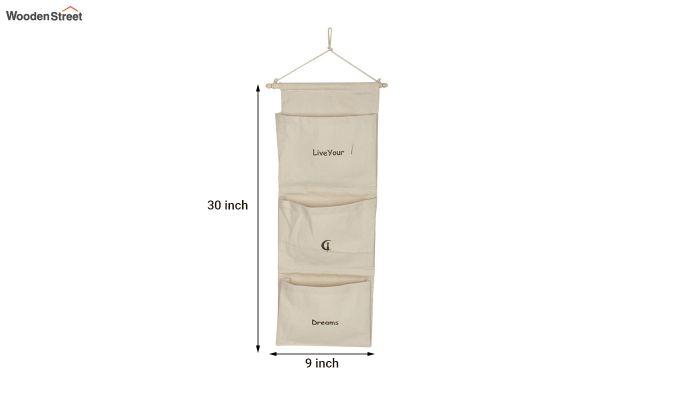 Multipurpose 3 Pocket White Wall Hanging Organizer-5