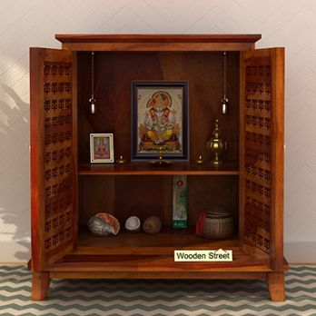 Bon Pooja Mandir With Doors In Honey Finish