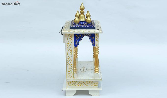 Sheesham Wood Blue & White Home Temple-4
