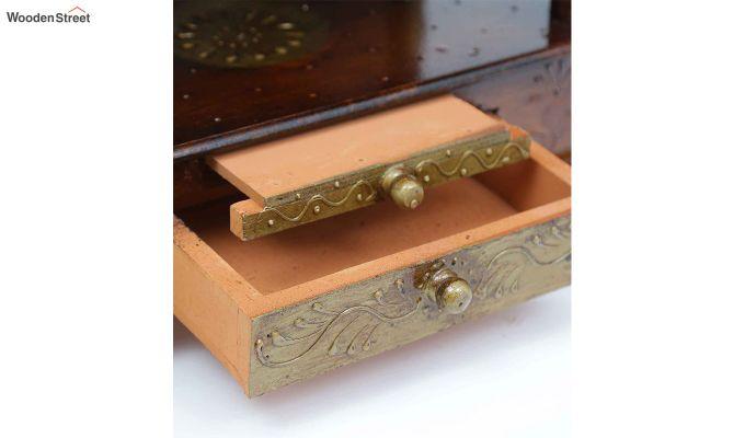 Sheesham Wood Copper Pooja Mandir-3