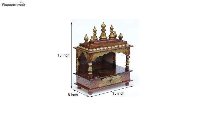 Sheesham Wood Copper Pooja Mandir-4