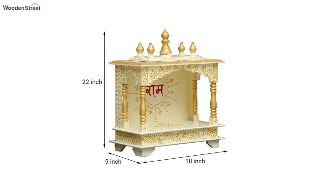Sheesham Wood Shri Ram White Home Temple-5