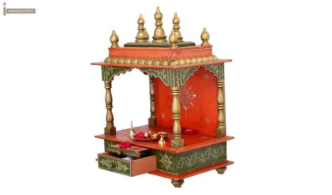Vrindavan Home Temple (Green and Red)-1