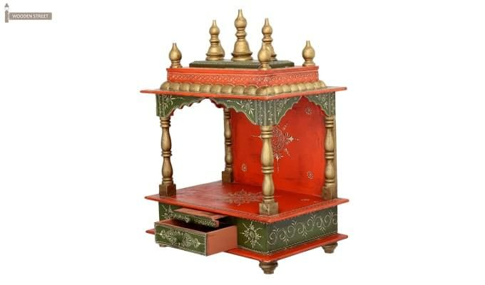 Vrindavan Home Temple (Green and Red)-8