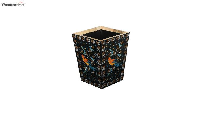 Mango Wood Birds Print Open Dustbin-3