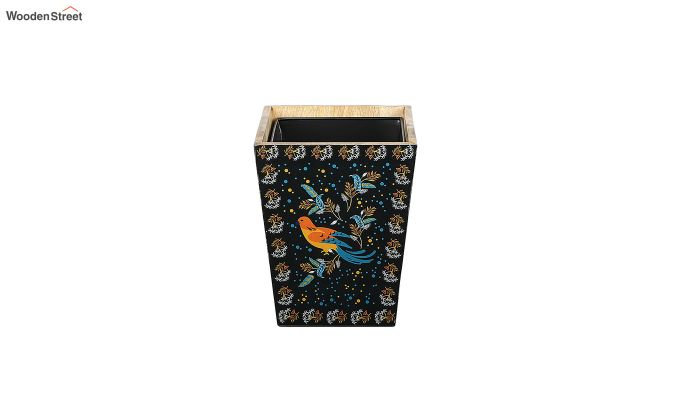 Mango Wood Birds Print Open Dustbin-5