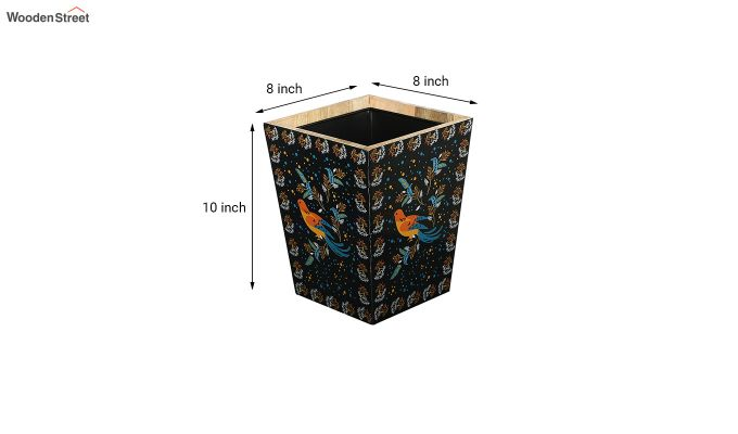 Mango Wood Birds Print Open Dustbin-6