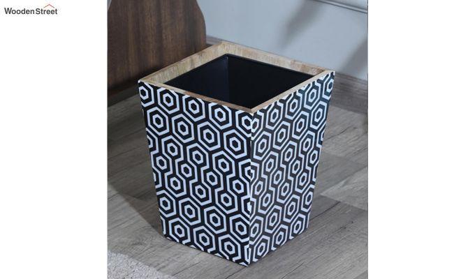 Mango Wood Black and White Open Dustbin-1
