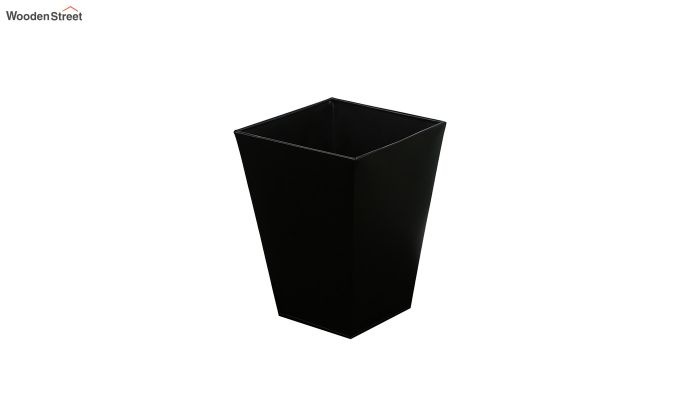 Mango Wood Black and White Open Dustbin-3
