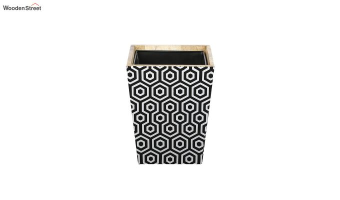 Mango Wood Geometric Pattern Open Dustbin-5