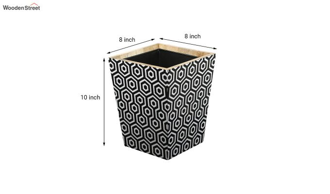 Mango Wood Geometric Pattern Open Dustbin-6