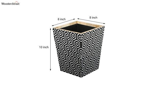Mango Wood Black and White Open Dustbin-5