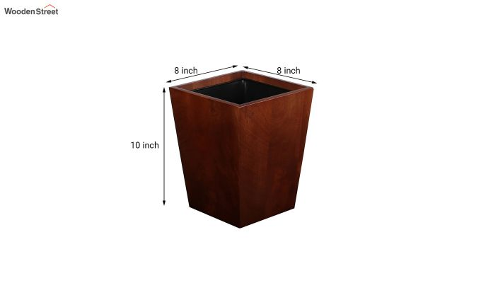 Mango Wood Dark Brown Open Dustbin-5