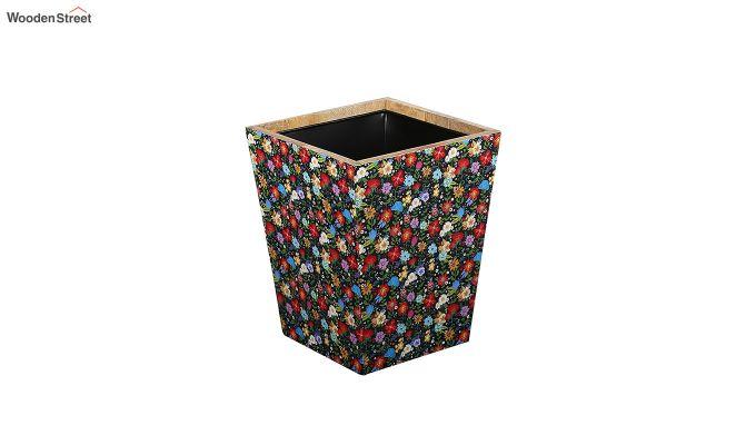 Mango Wood Floral Print Open Dustbin-2