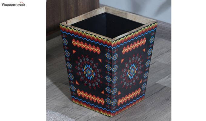 Mango Wood Geometric Pattern Open Dustbin-1