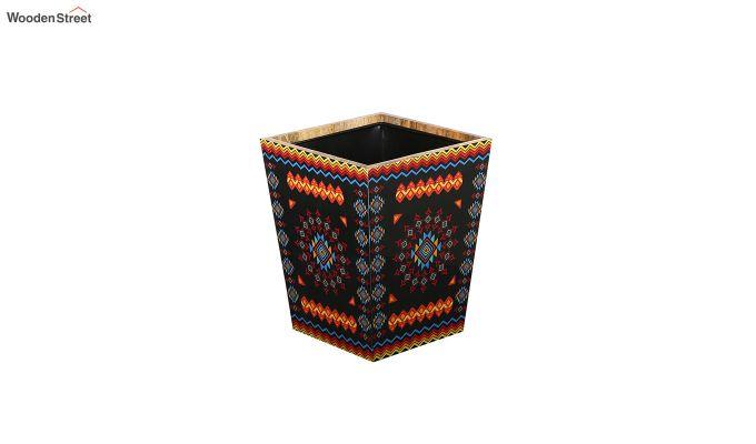 Mango Wood Geometric Pattern Open Dustbin-2