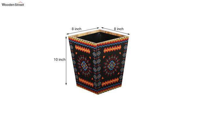 Mango Wood Geometric Pattern Open Dustbin-5