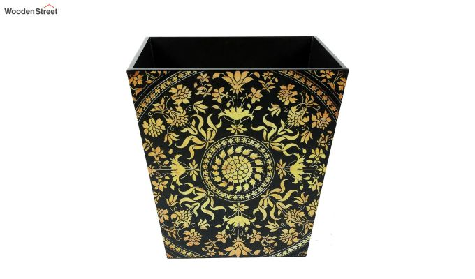 Multicolour 9 Ltr Open Wooden Dustbin-2