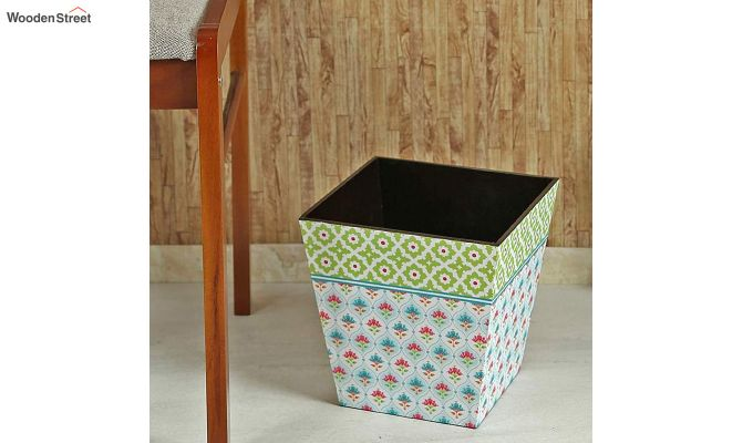 Multicolour 9 Ltr Wooden Dustbin-1