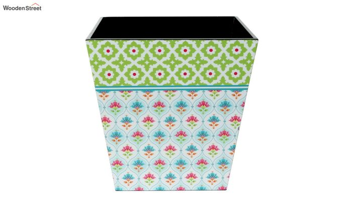 Multicolour 9 Ltr Wooden Dustbin-2