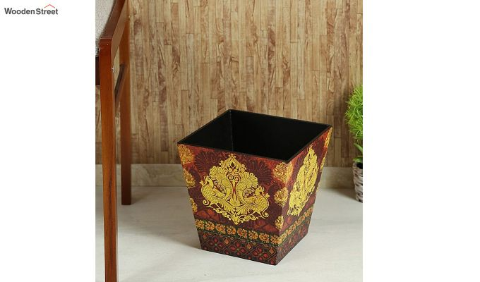 Multicolour Wooden Open Dustbin-1