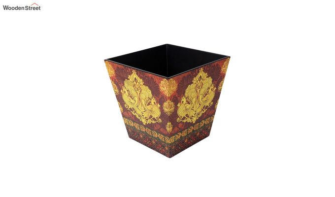 Multicolour Wooden Open Dustbin-2