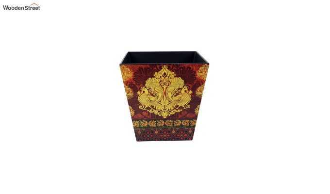 Multicolour Wooden Open Dustbin-3